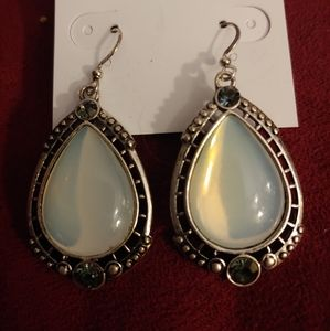 Faux moonstone dangle earrings